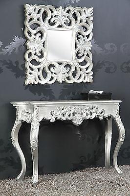Espejo + Consola como Juego Plata Antigua Lujoso Palaciego Barroco Rococo 85CM