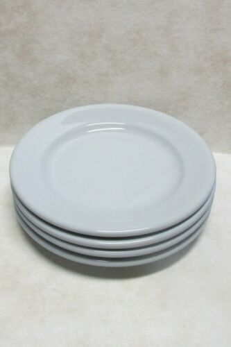 "4 Buffalo China Blue Lune 9"" Luncheon Plates Restaurant Ware Vintage Diner"