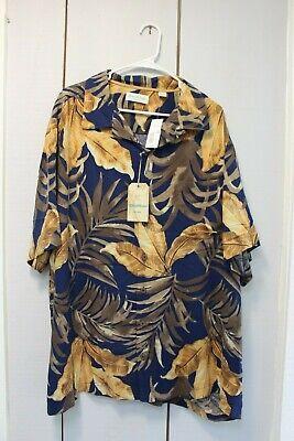 Caribbean Silk Floral Hawaiian Camp Shirt - Big and Tall - Navy / Palm Pattern ()