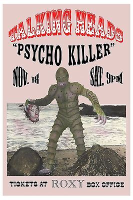 1970's New Wave: Talking Heads at Roxy Theatre in L. A.  Concert Poster 1978