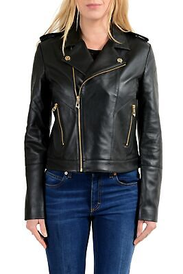 Versace Collection Women's Black 100% Leather Double Breasted Jacket
