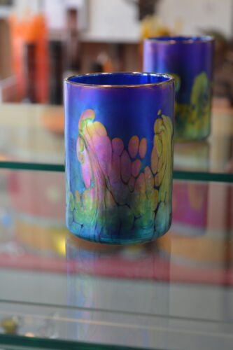 Iridescent Blue Art Glass Drinking Glass with 24 Karat Gold Wave design.