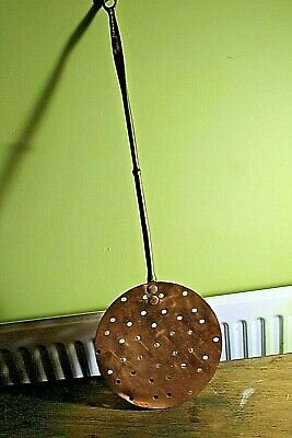 vintsge  kitchenalia copper brass milk skimmer  3474