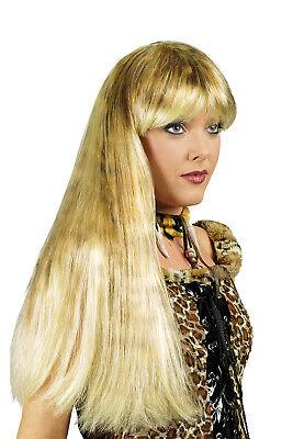 Damen Perücke FELINA m Leo Print zB Kostüm Katze Leopard Dschungel Steinzeit NEU
