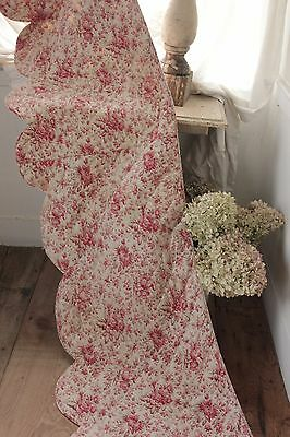 Valance 1860 pink & red floral quilted French bedding textile faded curtain