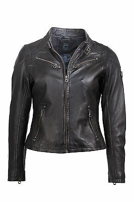 Gipsy Lederjacke Bikerjacke Damen Leder schwarz weiche echt Leder mit Stehkragen