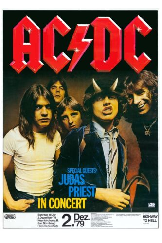 Rock: AC/DC & Judas Priest German Concert Poster 1979  12x18