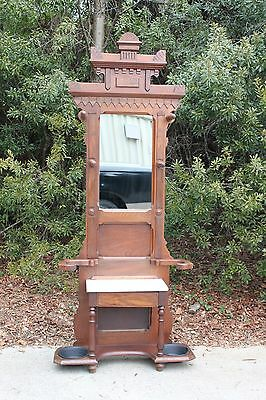 Walnut Victorian Eastlake Marble Top Hall Tree Stand with Fancy Carved Crown