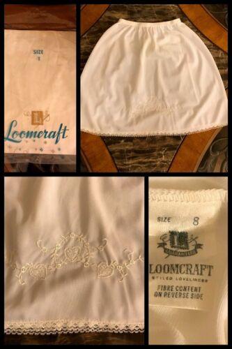 Vintage HALF SLIP Girls White Lace Embroidery Dress Nylon Elastic 1970s NEW Sz 8
