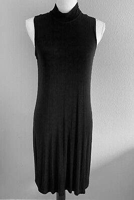 Chico's Women's Size 1 High Neck Sheath Dress Black Knit Sleeveless Stretch