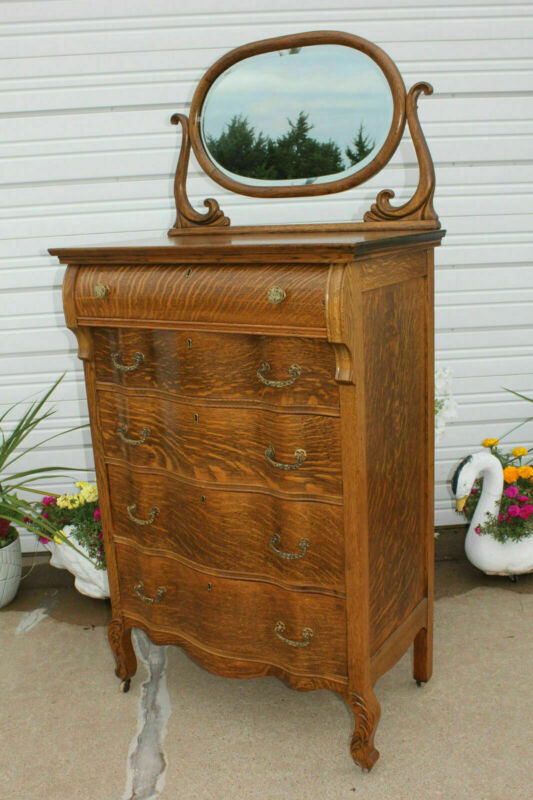 Antique Quartersawn Oak Serpentine High Boy Dresser 5 Dovetail Dwrs Mirror & Key