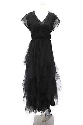 NWT$4845 Brunello Cucinelli Women's Multi-Tier Layered Tulle Black Gown SzM A181