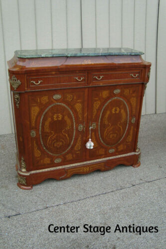 60728 Marble Top Louis XV Buffet Sideboard Cabinet w/ Drawers