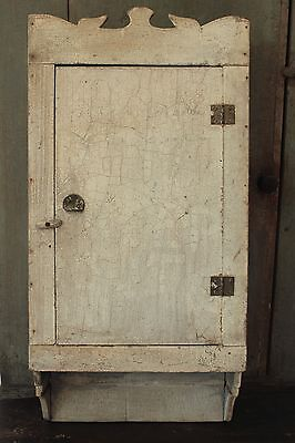 AAFA EARLY FOLK ART ANTIQUE PRIMITIVE WALL CABINET CUPBOARD CRACKLED WHITE PAINT