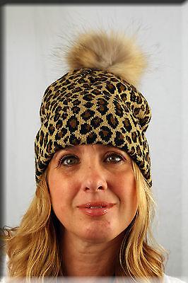 - New Leopard Print Beanie Finnish Raccoon Fur Pom Pom Efurs4less