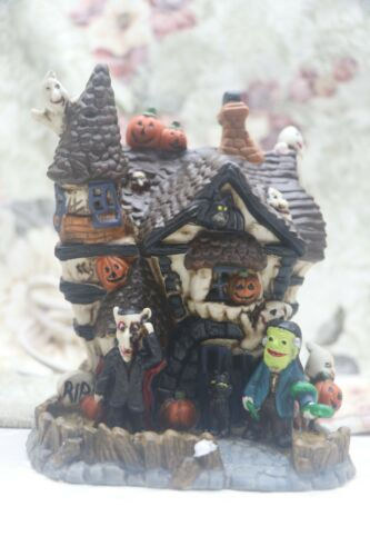 Spooky Hollow; Haunted House Lighted village Building for Halloween #597-8796