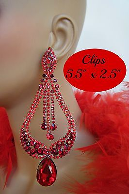 DRAG QUEEN HUGE CLIP ON RED CHANDELIER CRYSTAL EARRINGS PAGEANT BRIDAL STAGE**