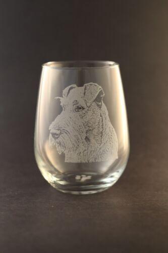 New! Etched Irish Terrier on Large Elegant Stemless Wine Glasses - Set of 2