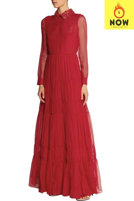 RRP €7790 VALENTINO Tiered Gown Size 38 / XS Red Detachable Leather Collar