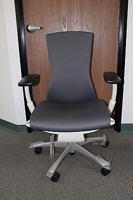 Herman Miller Embody Office Desk Chair Charcoal With Titanium Base White Frame