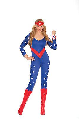 Sexy 3PC American Hero Superhero Women's Halloween Costume by EM. Plus Size Too!](Plus Size Superhero Costumes For Women)