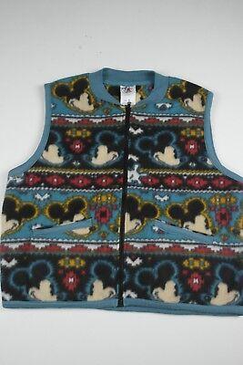 Fleece Print Vest - Vintage Mickey & Co Mickey Mouce Fleece Vest Size M Face All Over Print Full Zip