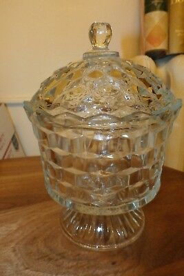 Clear Glass (cube pattern-whitehall) Footed Dish with Lid