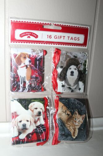 Holiday Time 16 Christmas Hanging Gift Tags CUTE DOGS 80 ct 5 Packs