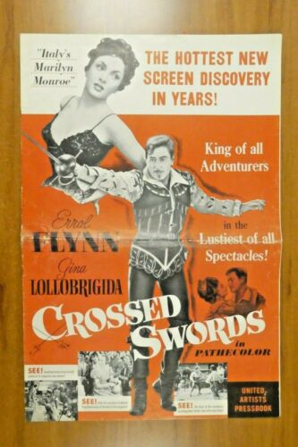 Crossed Swords Errol Flynn Gina Lollobrigida 1954 Vintage Movie Press Book