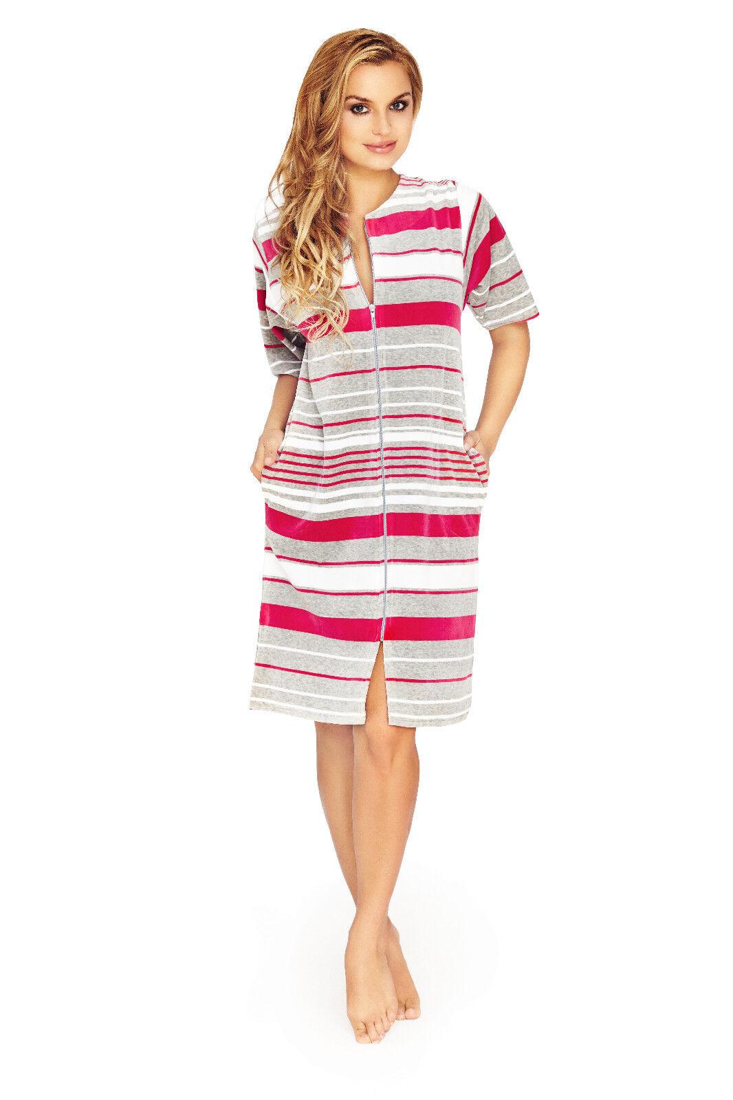 Women Knee Length Cotton Zip Up Housecoat Bathrobe Dressing Gown UK ...