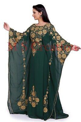 MOROCCAN GREEN DUBAI KAFTANS ABAYA DRESS VERY FANCY LONG GOWN MS10199-447