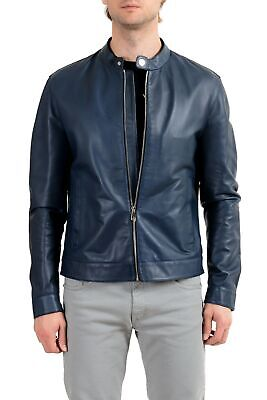Versace Collection Men's 100% Leather Blue Full Zip Jacket