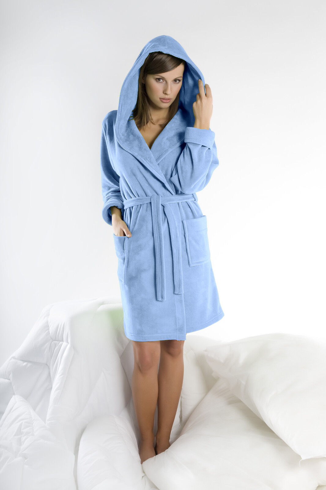 Womens Cotton Blend Hooded Bathrobe Dressing Gown Housecoat UK Robe Size 8  10 12