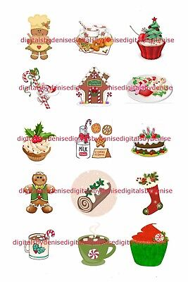 Christmas Treats 1  Circles Bottle Cap Images   2 45  5 50  Free Shipping