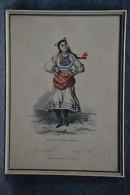 Kupferstich koloriert, Kroatisches Bauernmädchen, Kostümkunde, etwa (Stich Mädchen Kostüm)