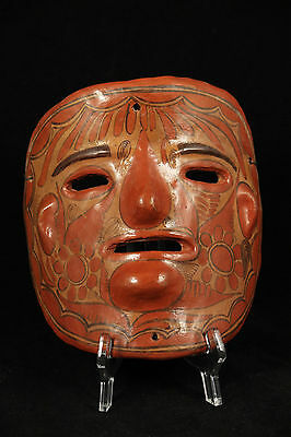 Vintage Mexican Ceramic Hanging Mask Folk Art Hand Formed/Painted Collectible