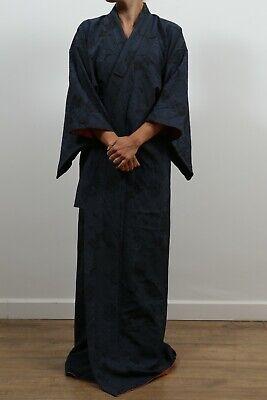 Authentic traditional vintage Japanese kinsha silk komon kimono