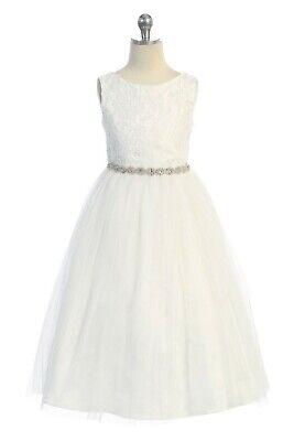 Off-White Flower Girl Lace Glitter Long Dress Wedding Party Easter Open Back](Flower Girl Long Dresses)