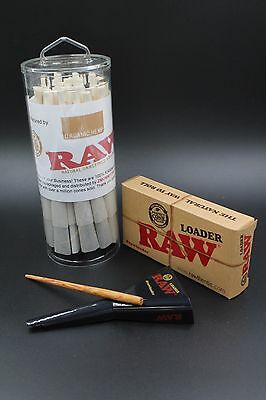 RAW Pre-Rolled Organic Cones 1 1/4 size With Filter (75 Pack and Cone Loader)