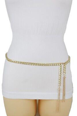 Women Fashion Belt Hip High Waist Gold Narrow Metal Chain Chunky Fringes M L XL