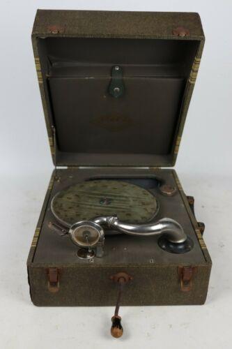 Vintage Pal Silvertone Wind Up Phonograph Portable Record Player, Tested/Working