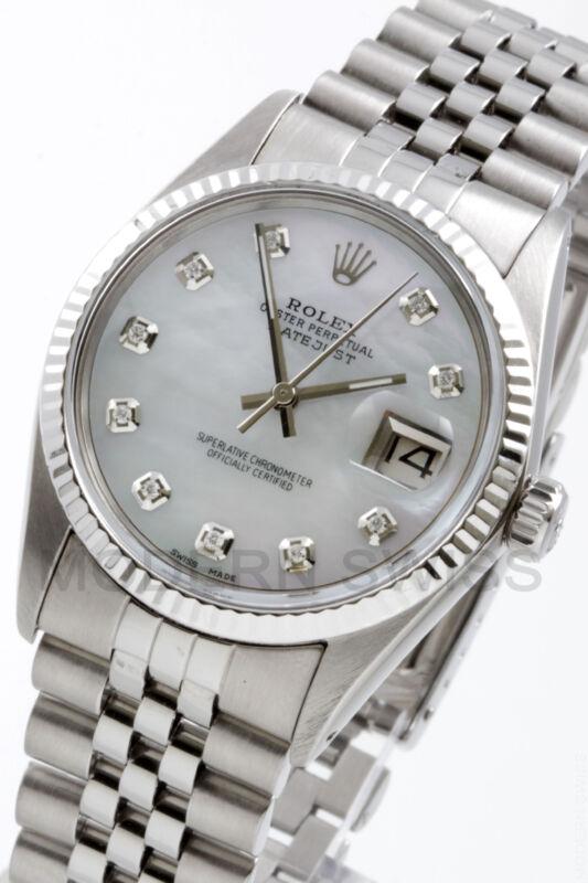 Rolex Mens Datejust Steel White Mop Diamond Gold Fluted Jubilee 16014 Quickset