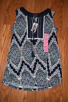 NWT Womens RXB Navy West Hamptons Printed Sleeveless Tunic Shirt Blouse XL
