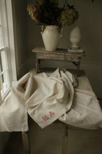 Linen & Cotton Mix Antique Sheet MA monogram French 59X104in lovely upholstery