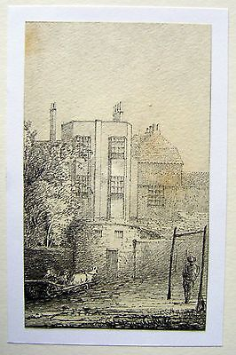 LATHBURY FAMILY (3) FIGURE WITH  HORSE & CART BY A BUILDING PENCIL C1831