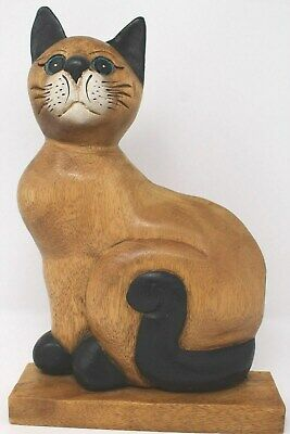 Pair of Cats Hand Painted Wooden Statue Ethnic Style from cm20