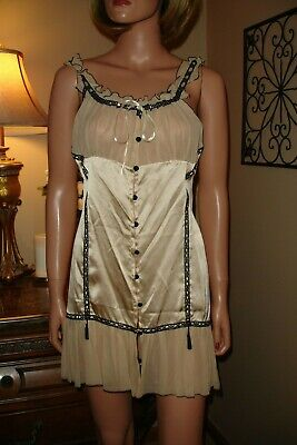 Mary Green Sz S fits S/M Silk Chemise Nightgown Lingerie Vtg Look ()