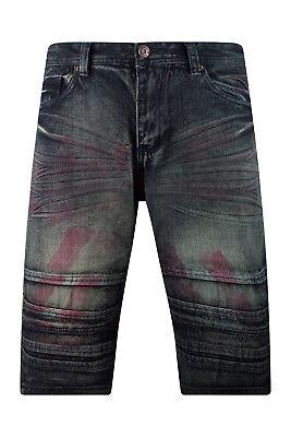 New Men Denim Premium Jean Shorts Pink Paint Blue Jeans Sizes -