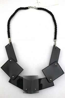 H&M Smoky Gray Black Lucite Multi-Shape Chunky Rope Statement Necklace NWT
