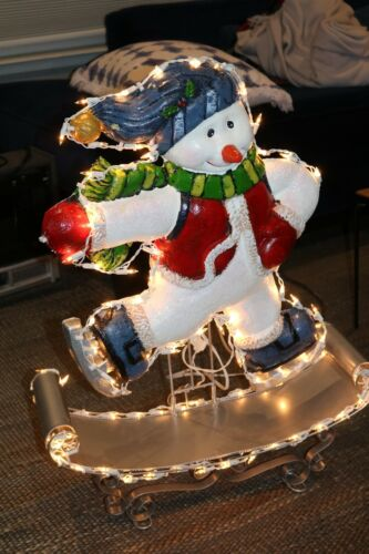 Animated Light Up Motion Skating Snowman Christmas Decoration - By Everstar